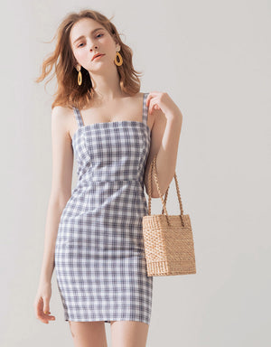 Plaid Slim Fit Thick Strap Dress