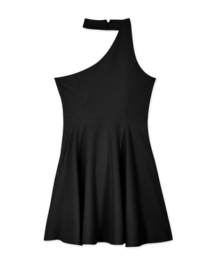 One Shoulder Cut Out Flare Dress (with Padding)