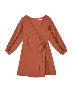 Braided 3/4 Sleeve Wrap Dress