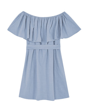 Off Shoulder Ruffle Cotton Belted Dress