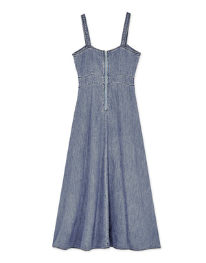 Thin Strap Button Down Slit Denim Midi Dress