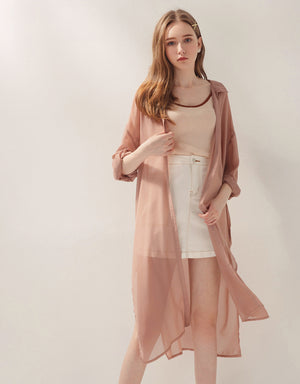 Sheer Chiffon Slit Long Shirt-Jacket