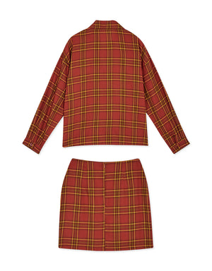 American Rustic Style Plaid Blouse & Skirt Set Wear