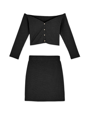 Creased Button Down 3/4 Sleeve Top & Mini Skirt Set Wear