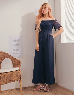 Textured Off Shoulder Lace Splice Jumpsuit