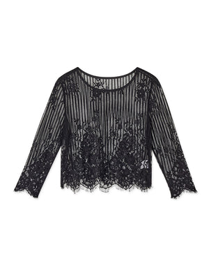 Transparent Straight Line Lace 3/4 Sleeve Top