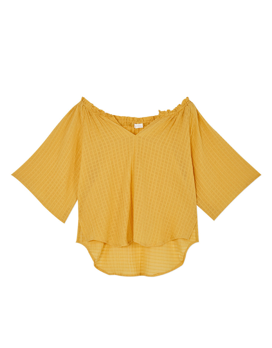 Tattersall Transparent Fluted Sleeve Top