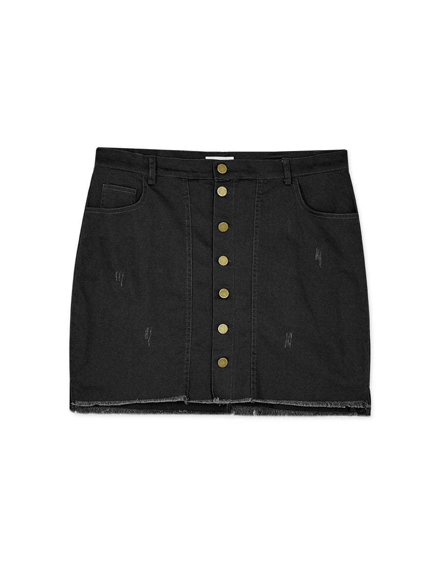 Metal Button Down Denim Skort