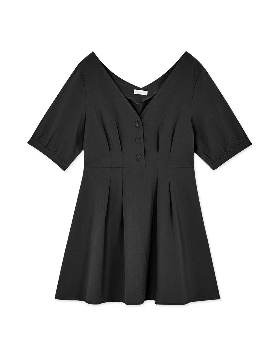 V-Neck Button Elbow-Length Sleeve Dress
