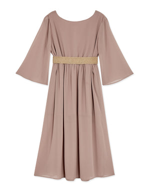 Flowy Transparent V-Neck Chiffon Belted Dress