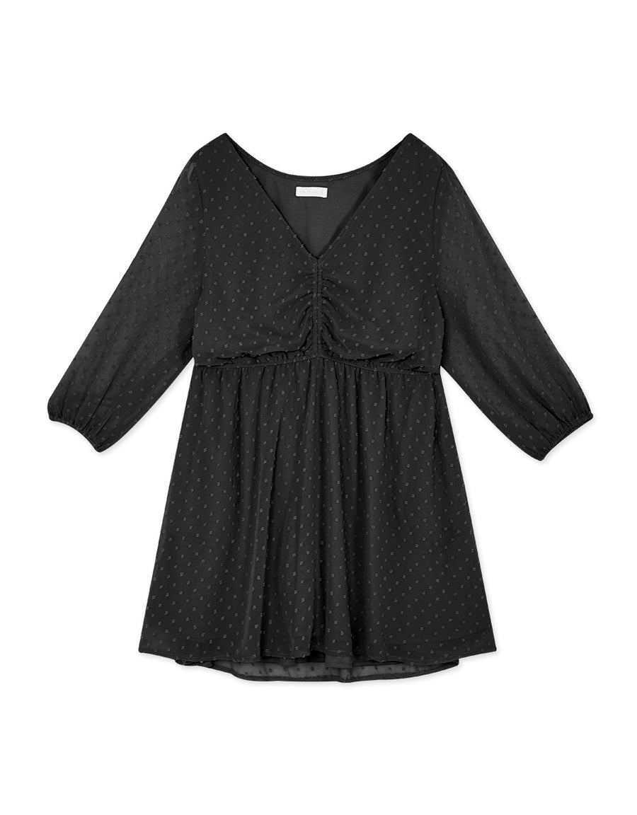 V-Neck Swiss Dot Shirred Chiffon Dress