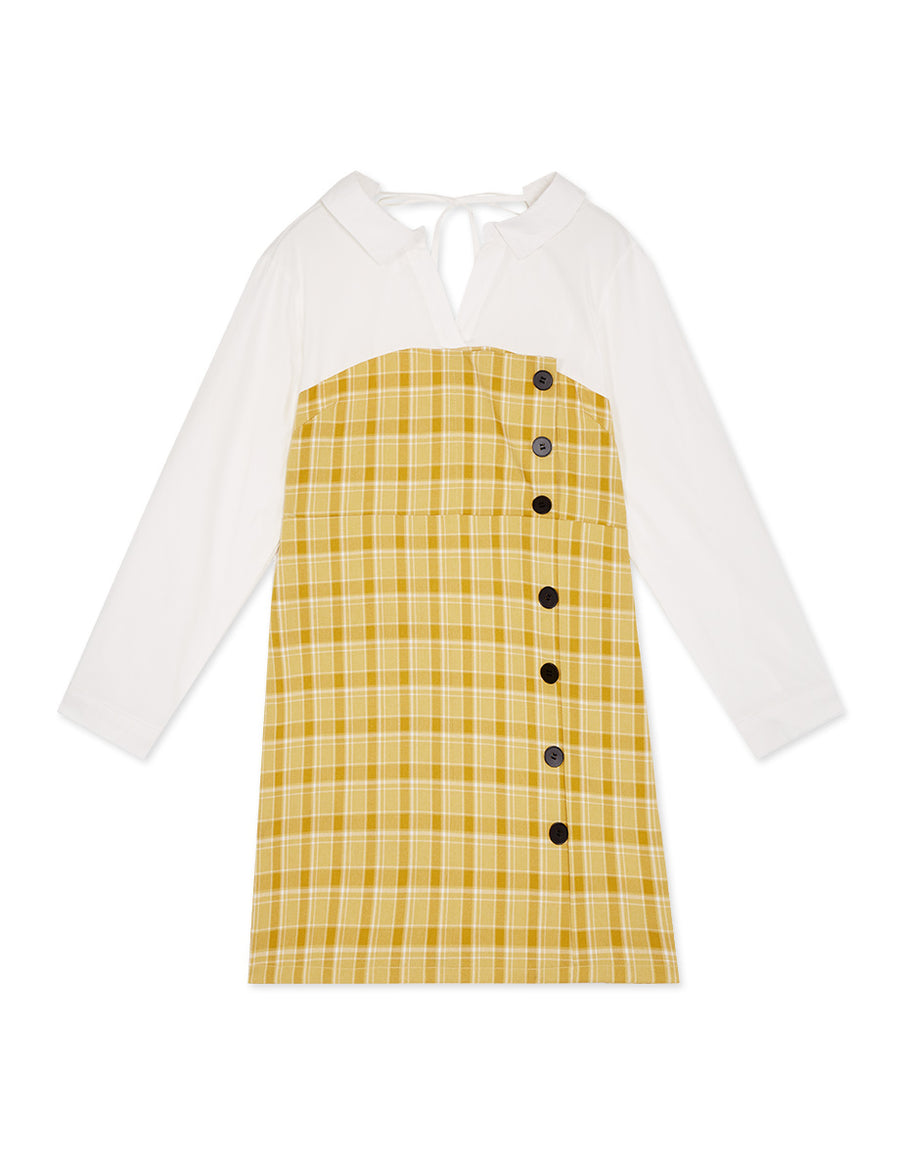 Sweet Style Plaid Splice Blouse Dress