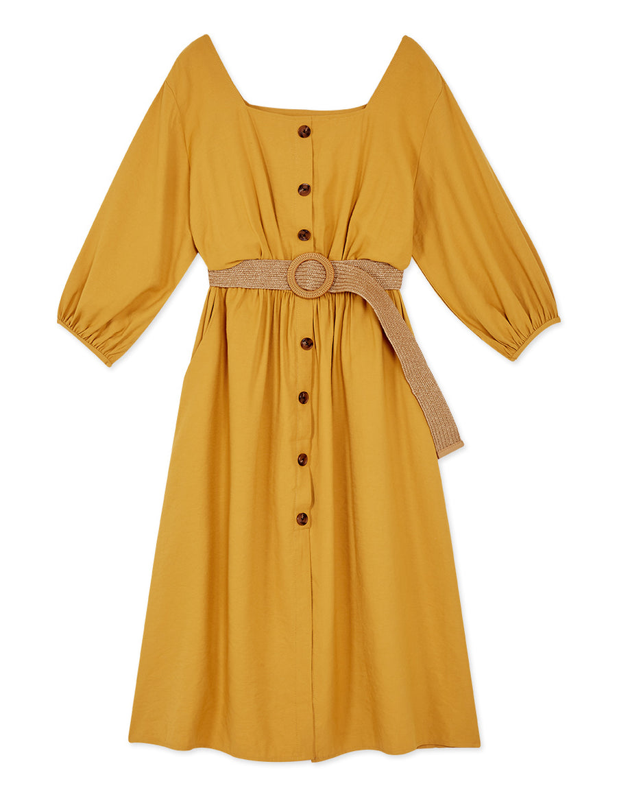 Vintage Square Neck Cinched Waist Belted Dress