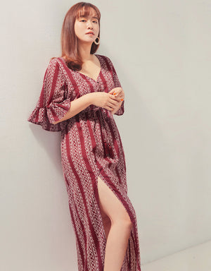 V-Neck Slit Printed Vacation Maxi Dress