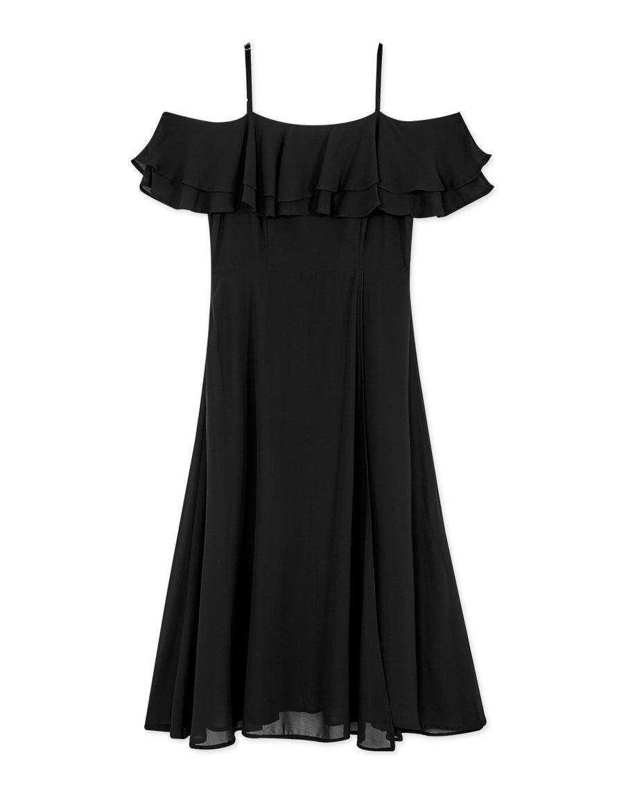Double Ruffle Cold Shoulder Slit Chiffon Dress