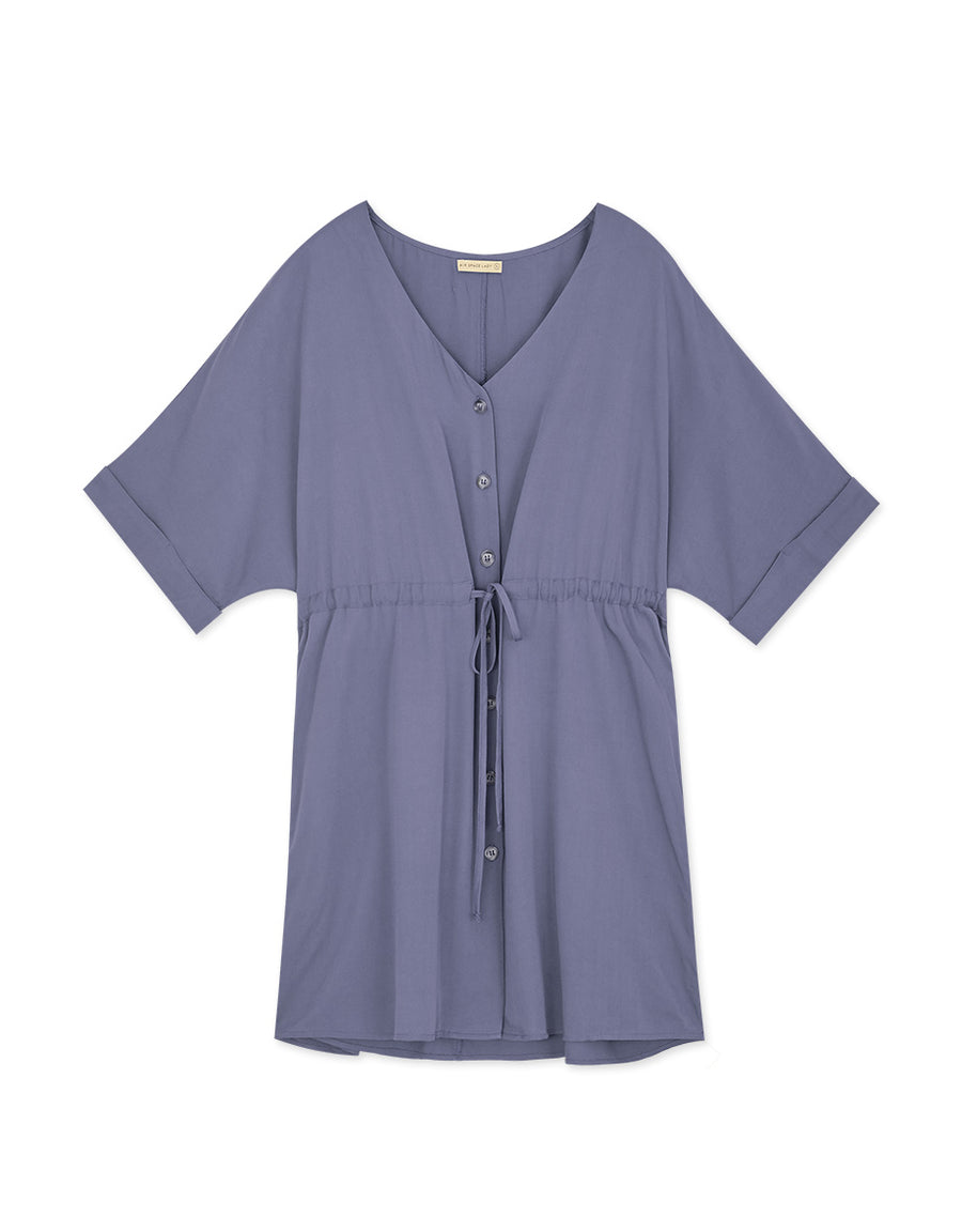V-Neck Foldover Sleeves Ribbon Dress
