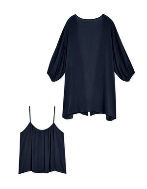 Comfy Thin Strap Cami Top & Long Cardigan Set Wear