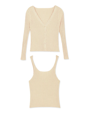Textured Knit Cami Top & Cardigan