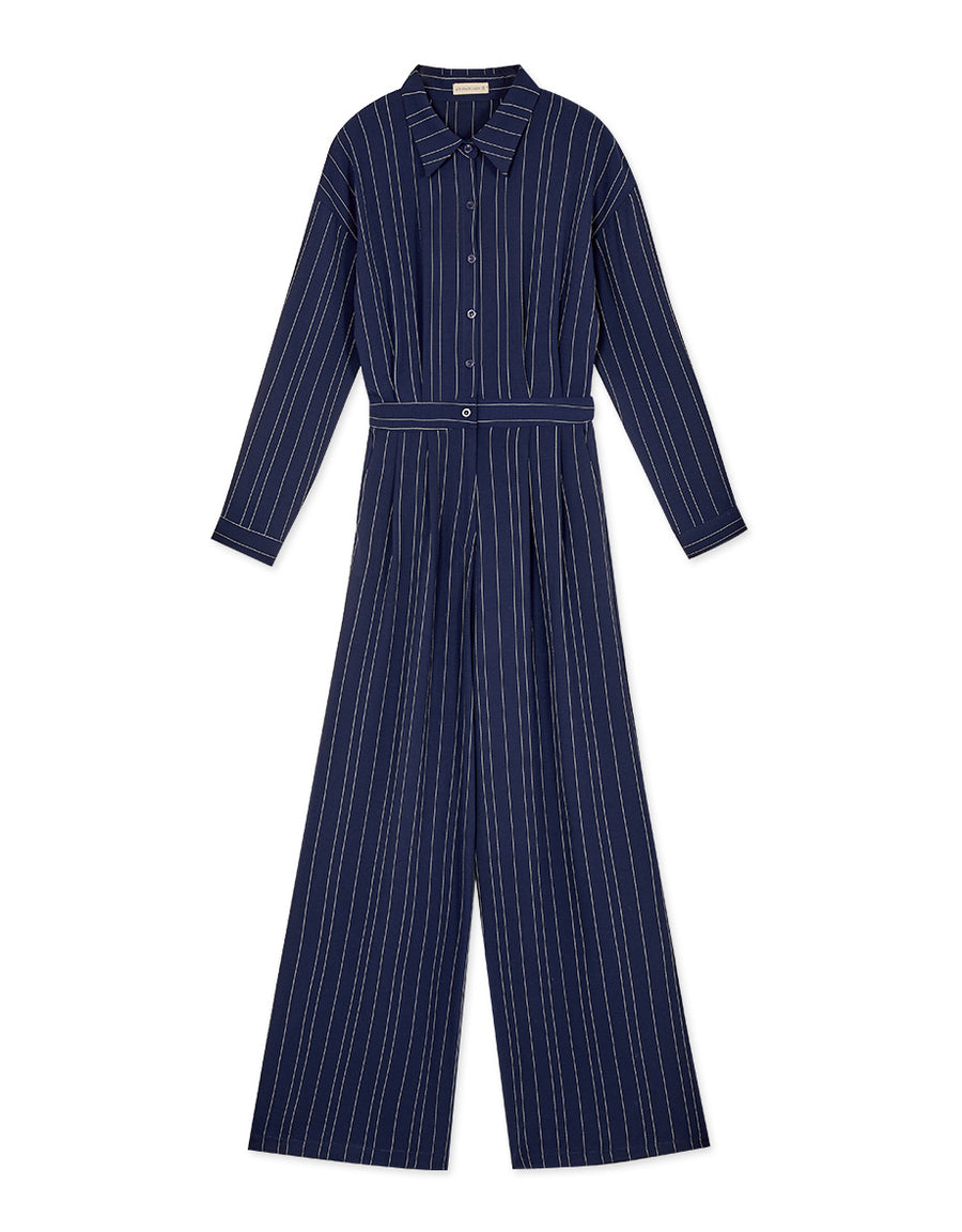 Sleek Straight Striped Blouse Jumpsuit