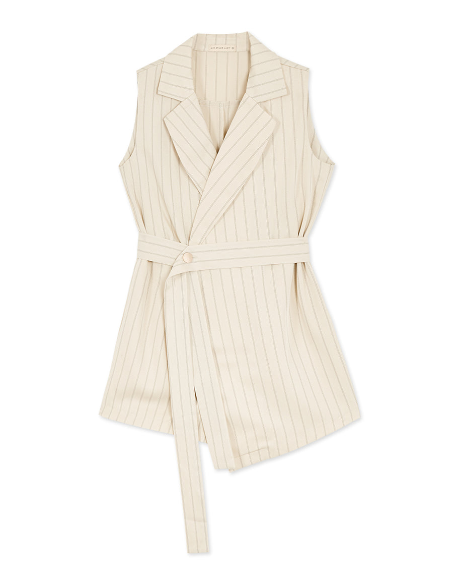 Sleek Feminine Lapel Collar Sleeveless Playsuit