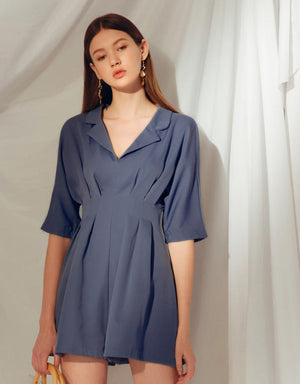 Textured Suit Collar Pleated Waist Jumpsuit