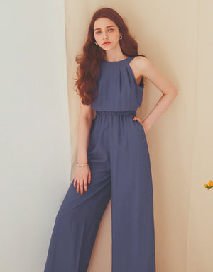 Sleek Round Neck Halter Jumpsuit