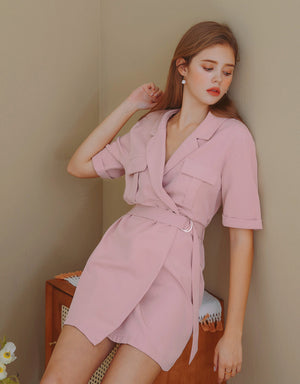 Industrial Style Lapel Collar Belted Dress