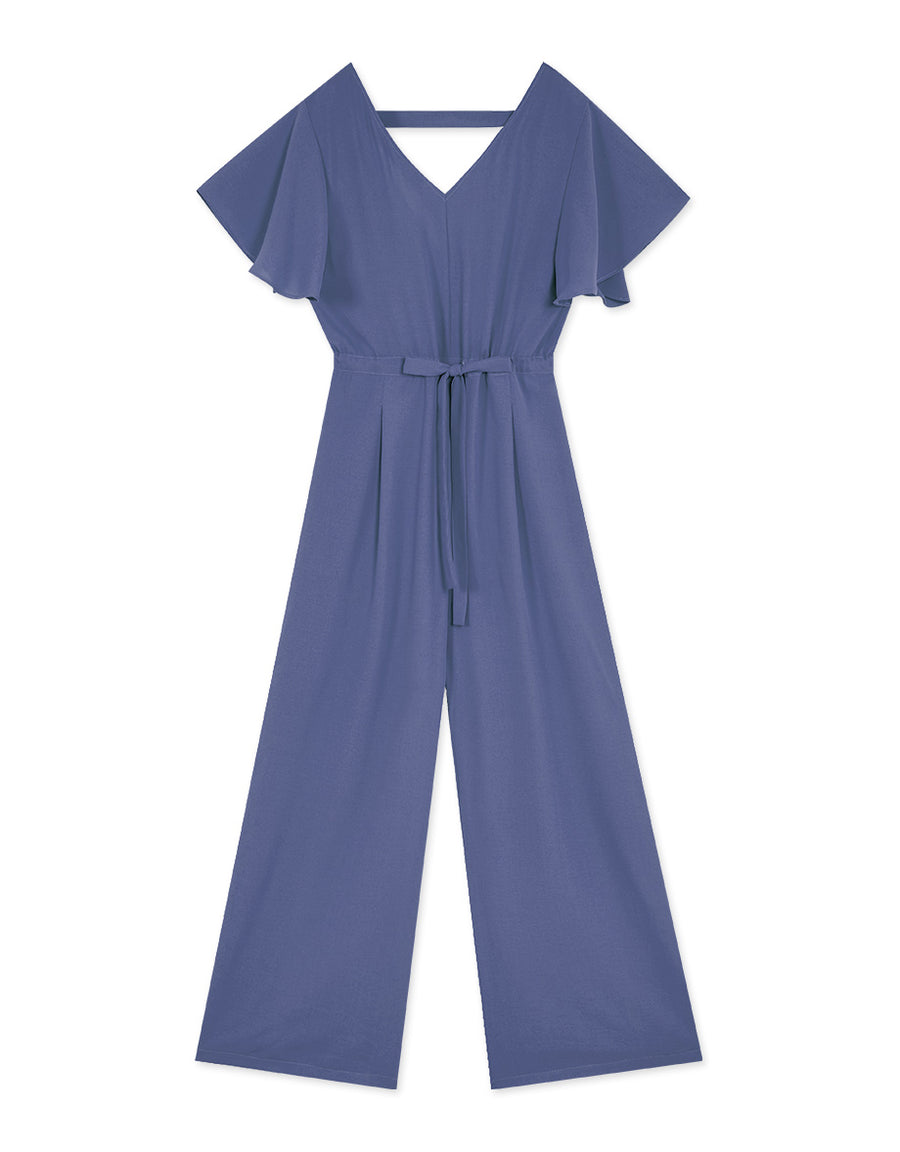 V-Neck Hollow Back Ribbon Ruffle Sleeve Jumpsuit