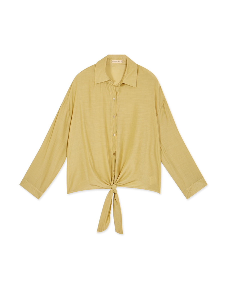 Comfy Gloss Self-Tie Ribbon Blouse
