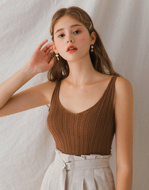 Crochet U-Neck Knitted Cami Top