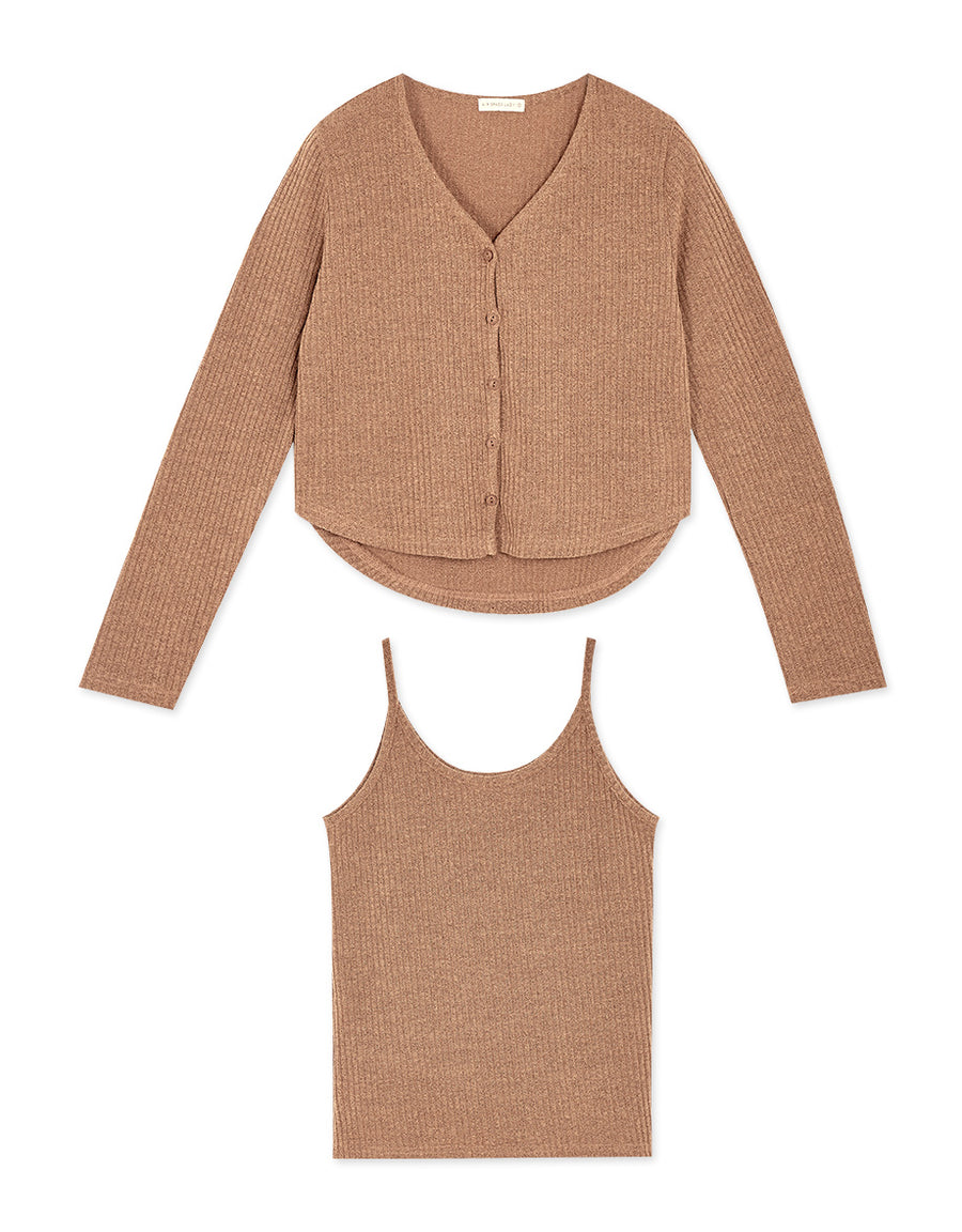 Comfy Ribbed Cami & Cardigan Set Wear