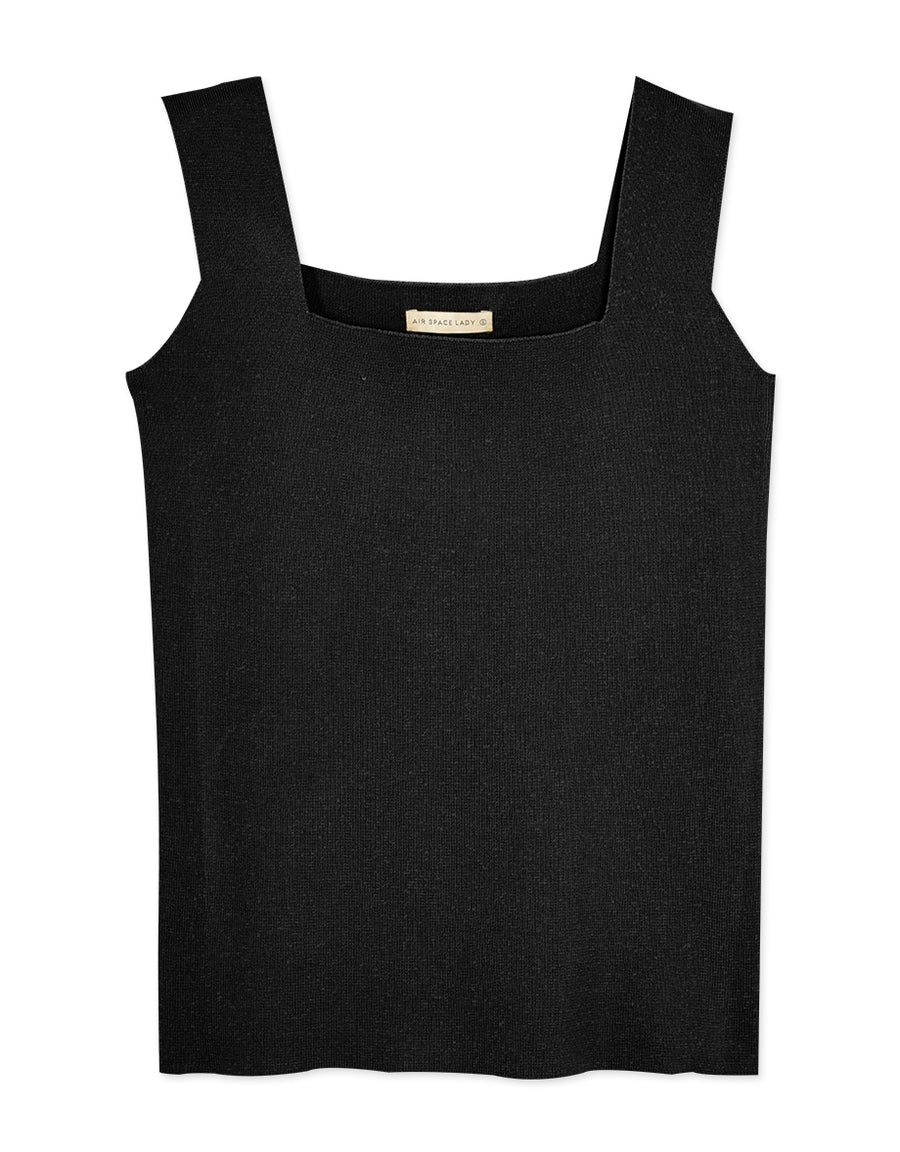 Thick Strap Square Neck Knitted Tank Top