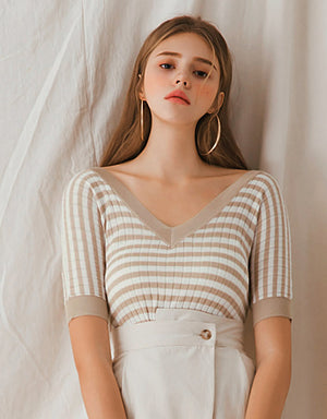 Striped Short Sleeve Knitted Fitted Top