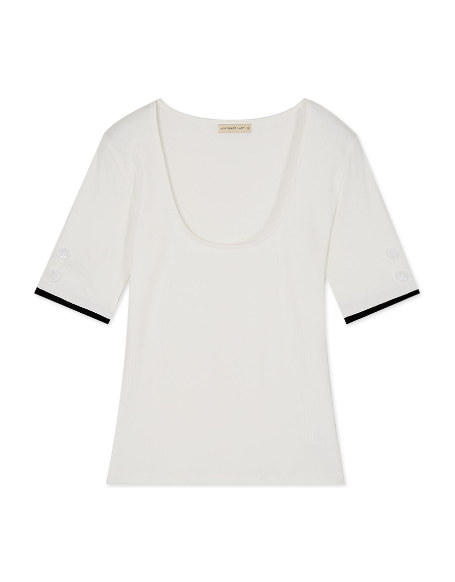 Deep U-Neck Trim Ribbed Top