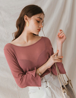 Transparent Hollow Back Ribbon Long Sleeve Top