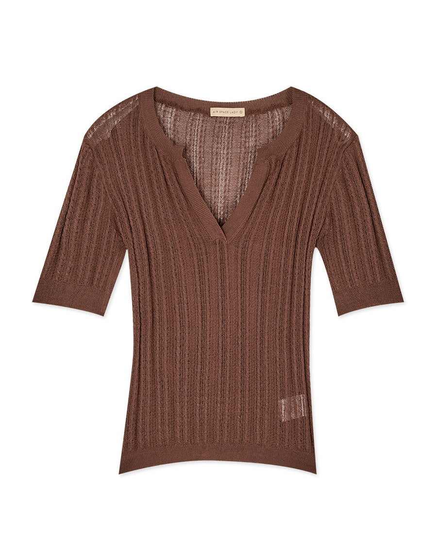 V-Neck Ribbed Transparent Knitted Top