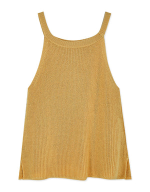 Halter Slit Crop Knitted Tank Top