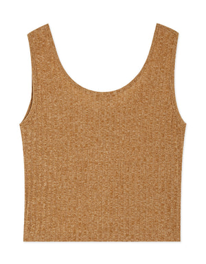 U-Neck Shell Button Crop Knitted Tank Top