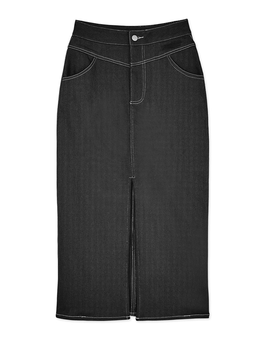 High Waisted Tailored Front Slit Midi Skirt