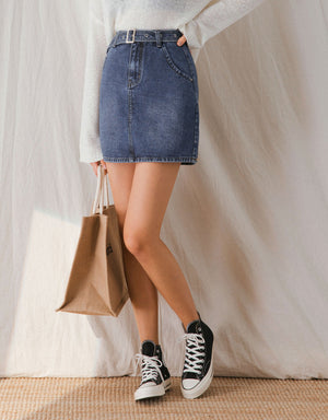 Sleek Slim Fit Denim Belted Skirt