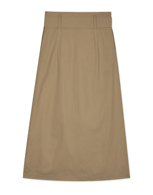 Minimalist Single Pocket Slit Overlap Midi Skirt