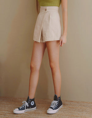 Asymmetrical Overlap Distressed Hem Skort