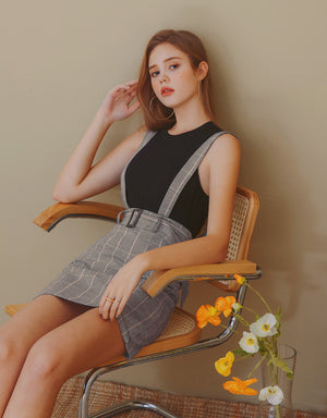 Plaid A-Line Suspender Skirt