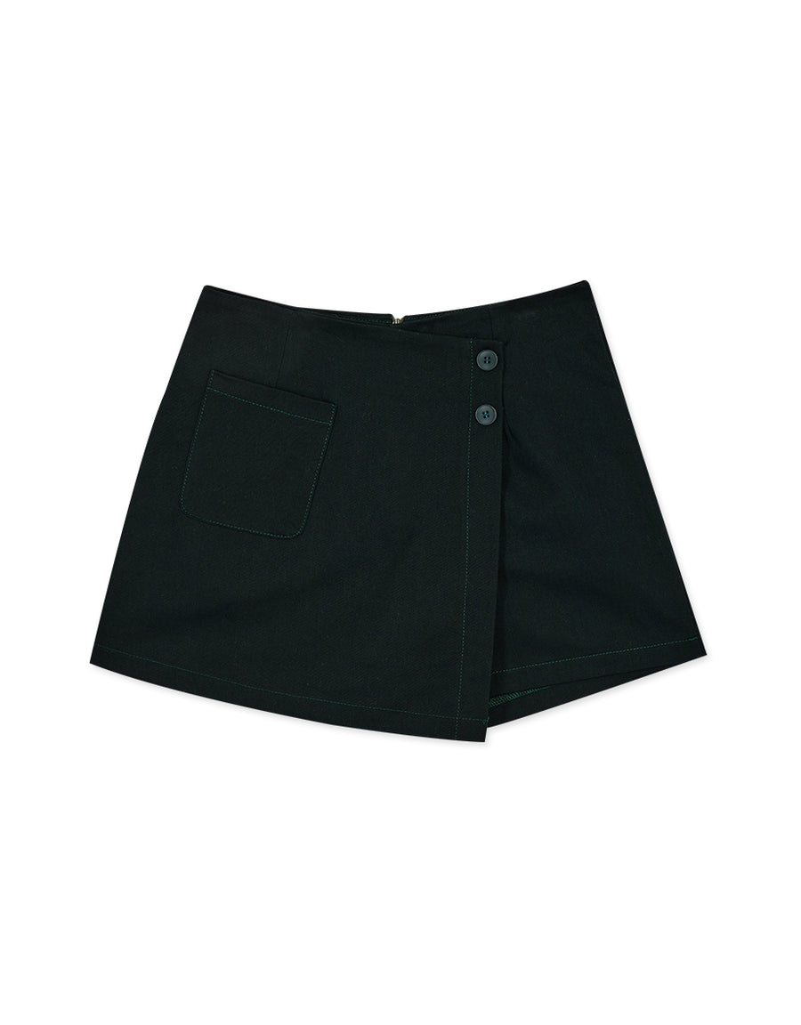 Asymmetrical Hem Pocket Skort