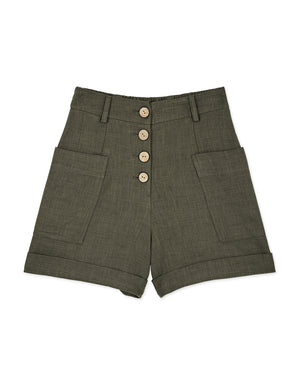 Button Up Fold Up Hem Pockets Shorts