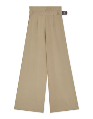 High Waisted Creased Belted Suit Pants