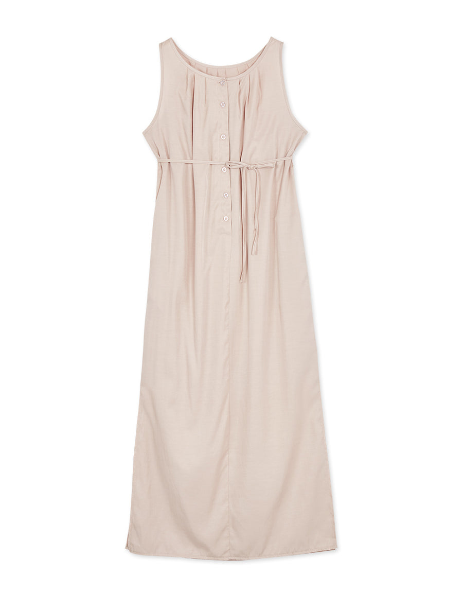 Textured Button Up Ribbon Sleeveless Maxi Dress