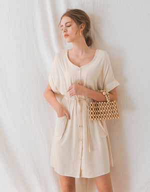 V-Neck Fold Up Sleeve Cinched Waist Dress