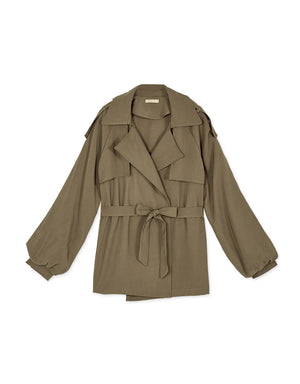 English Style Lapel Collar Peasant Sleeve Belted Trench Coat