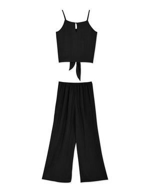 Front Tie Thin Strap Cami & Pants Set Wear